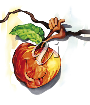 Royalty Free Clipart Image of a Funny Apple on a Branch