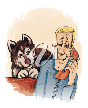 Royalty Free Clipart Image of a Man on the Phone and a Dog Behind Him