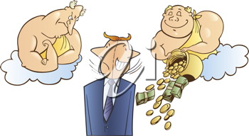 Royalty Free Clipart Image of a Man With Two Angels, One Mean, One Giving Him Money