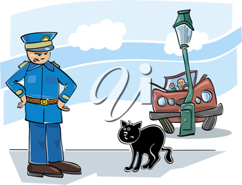 Royalty Free Clipart Image of a Car Crash, a Policeman and a Cat