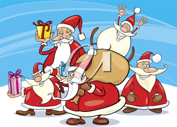 Royalty Free Clipart Image of a Group of Santas