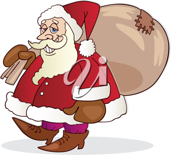 Royalty Free Clipart Image of Santa With His Sack of Toys