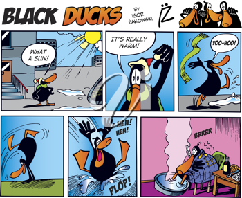 Royalty Free Clipart Image of a Black Duck Comic Strip