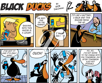 Royalty Free Clipart Image of a Black Duck Comic Strip About Shaving