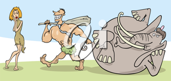 Royalty Free Clipart Image of a Prehistoric Couple and Mastadon