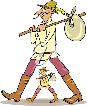 Royalty Free Clipart Image of a Man With a Kerchief on a Stick and a Smaller Version Below Him