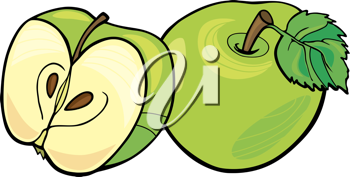 Royalty Free Clipart Image of a Whole Green Apple and a Sliced One