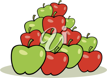 Royalty Free Clipart Image of a Stack of Red and Green Apples