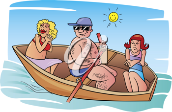 Royalty Free Clipart Image of Two Women and a Man in a Rowboat