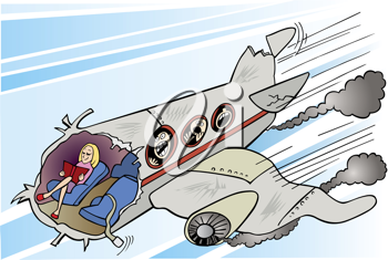 Royalty Free Clipart Image of a Girl Reading in a Falling Plane