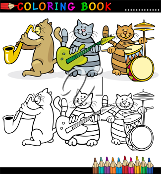 Coloring Book or Page Cartoon Illustration of Funny Cats Music Band for Children