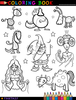 Coloring Book or Page Cartoon Illustration of Queen, Princess, Dwarf or Gnome, Creatures and Dragon Fairytale Fantasy Characters