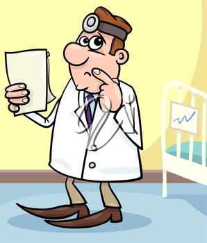 Cartoon Illustration of Male Medical Doctor in Hospital Room with Writing Board near the Patient Bed