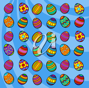 Cartoon Illustration of Colorful Painted Easter Eggs Background