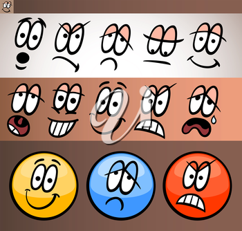 Cartoon Illustration of Funny Emoticon or Emotions and Expressions like Sad, Happy, Angry or Skeptic