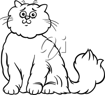 Black and White Cartoon Illustration of Cute Long Hair Persian Cat for Coloring Book