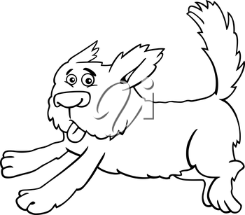Cartoon Illustration of Funny Running Shaggy Dog for Coloring Book or Coloring Page