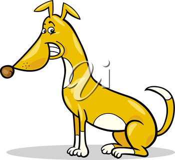 Cartoon Illustration of Funny Sitting Spotted Dog