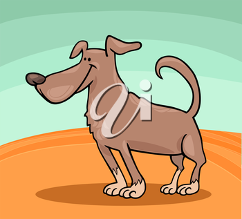 Cartoon Illustration of Cute Standing Brown Dog