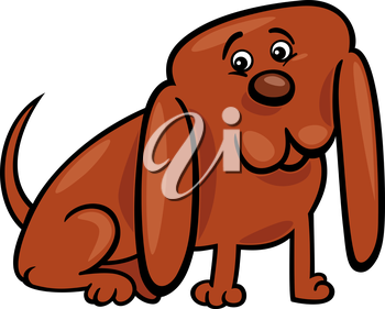 Cartoon Illustration of Funny Little Dog with Huge Ears