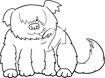 Cartoon Illustration of Funny Shaggy Sheepdog or Bobtail Dog for Coloring Book