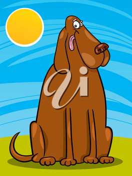 Cartoon Illustration of Funny Big Brown Dog against Blue Sky with Sun