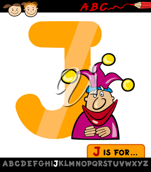 Cartoon Illustration of Capital Letter J from Alphabet with Jester for Children Education