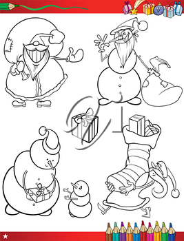 Coloring Book or Page Cartoon Illustration of Black and White Christmas Themes Set with Santa Claus or Papa Noel and Xmas Presents and Decorations for Children