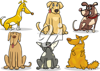 Cartoon Illustration of Funny Dogs or Puppies Pet Set