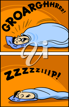 Royalty Free Clipart Image of a Man Snoring