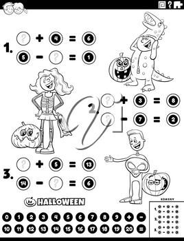 Black and white cartoon illustration of educational mathematical addition and subtraction puzzle task with kids characters on Halloween time coloring book page