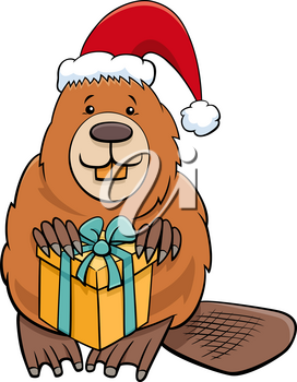 Cartoon illustration of beaver animal character with present on Christmas time