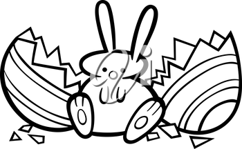 Black and White Cartoon Illustration of Cute Easter Bunny which Hatched from Paschal Egg for Coloring Book