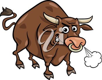 Cartoon Illustration of Funny Farm Bull Animal