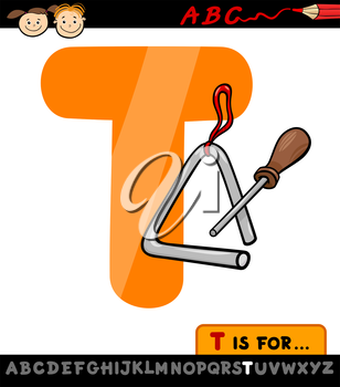 Cartoon Illustration of Capital Letter T from Alphabet with Triangle for Children Education