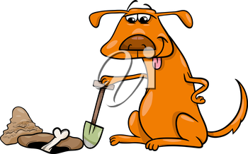 Cartoon Illustration of Dog which Burrows or Digs his Bone