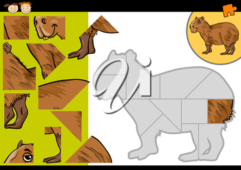 Cartoon Illustration of Education Jigsaw Puzzle Game for Preschool Children with Funny Capybara Animal Character