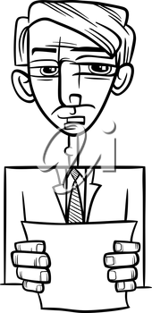 Black and White Cartoon Illustration of Man in Suit or Politician Giving a Speech for Coloring Book