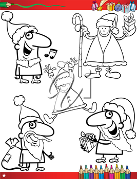 Coloring Book Cartoon Illustration of Black and White Christmas Themes Set with Santa Claus and Pretty Girl