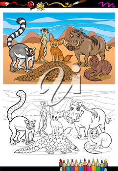 Coloring Book or Page Cartoon Illustration of Black and White Funny African Mammals Animals Characters Group for Children