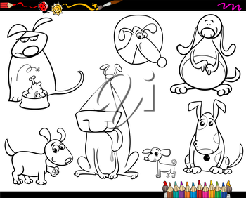 Coloring Book or Page Cartoon Illustration of Black and White Funny Dogs Pet Animal Characters