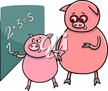 Cartoon Illustration of Funny Pig Animal Character on Math Lesson at Blackboard