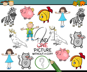 Cartoon Illustration of Finding Picture without a Pair Educational Game for Preschool Children