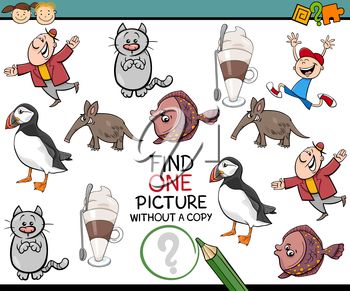 Cartoon Illustration of Finding Picture without a Copy Game for Preschool Children