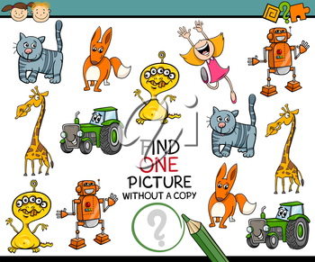 Cartoon Illustration of Looking for Single Picture Educational Task for Preschool Children