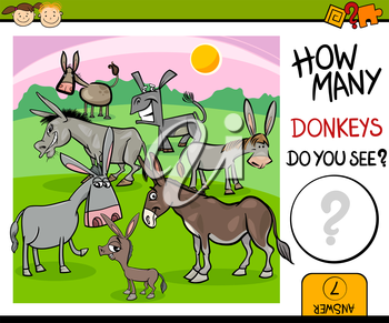 Cartoon Illustration of Kindergarten Educational Counting Task for Preschool Children with Farm Donkeys