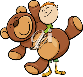 Cartoon Illustration of Cute Boy with Big Cuddly Teddy Bear