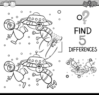 Black and White Cartoon Illustration of Finding Differences Educational Task for Preschool Children with Alien Characters for Coloring Book