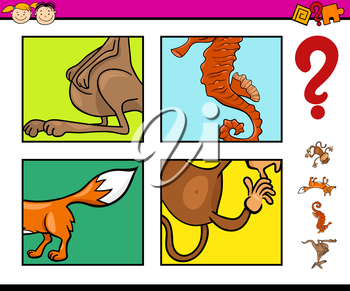 Cartoon Illustration of Educational Task for Preschool Children with Animals Riddle