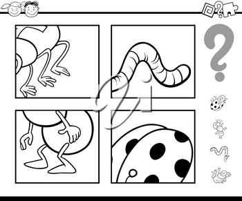 Black and White Cartoon Illustration of Education Game for Preschool Children with Animals Task Coloring Page